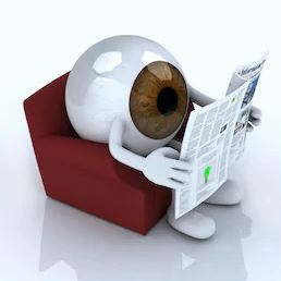 eyeball reading newspaper